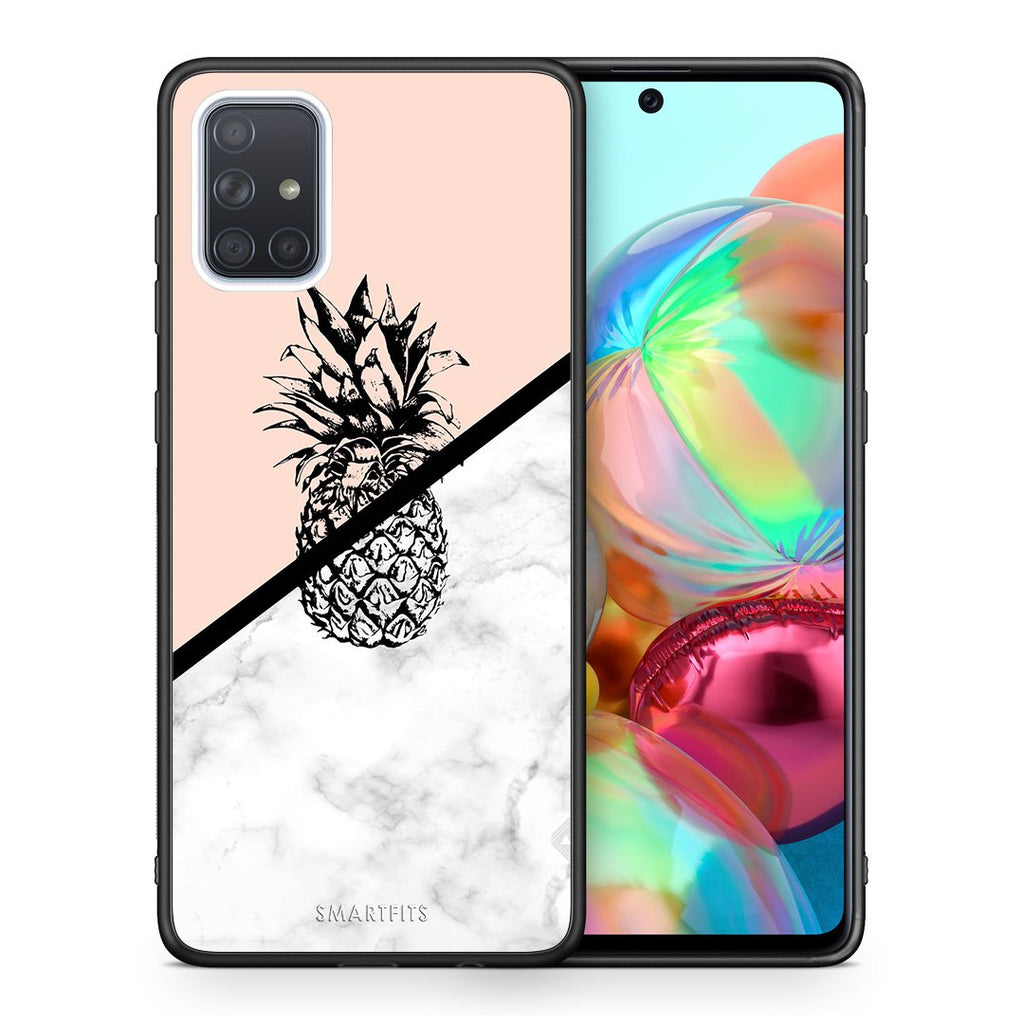 4 - Samsung A71 Pineapple Marble case, cover, bumper