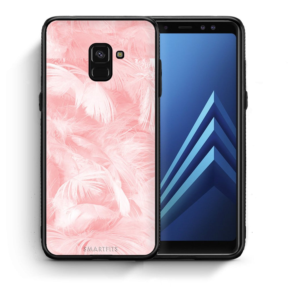 33 - Samsung A8  Pink Feather Boho case, cover, bumper