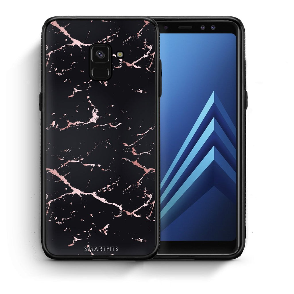 4 - Samsung A8  Black Rosegold Marble case, cover, bumper