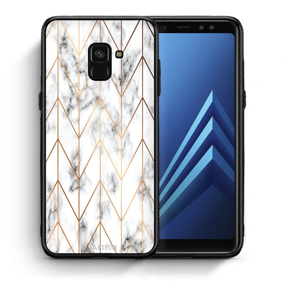 44 - Samsung A8  Gold Geometric Marble case, cover, bumper