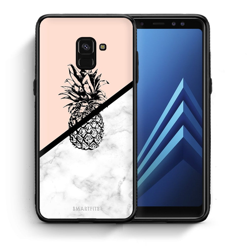 4 - Samsung A8 Pineapple Marble case, cover, bumper