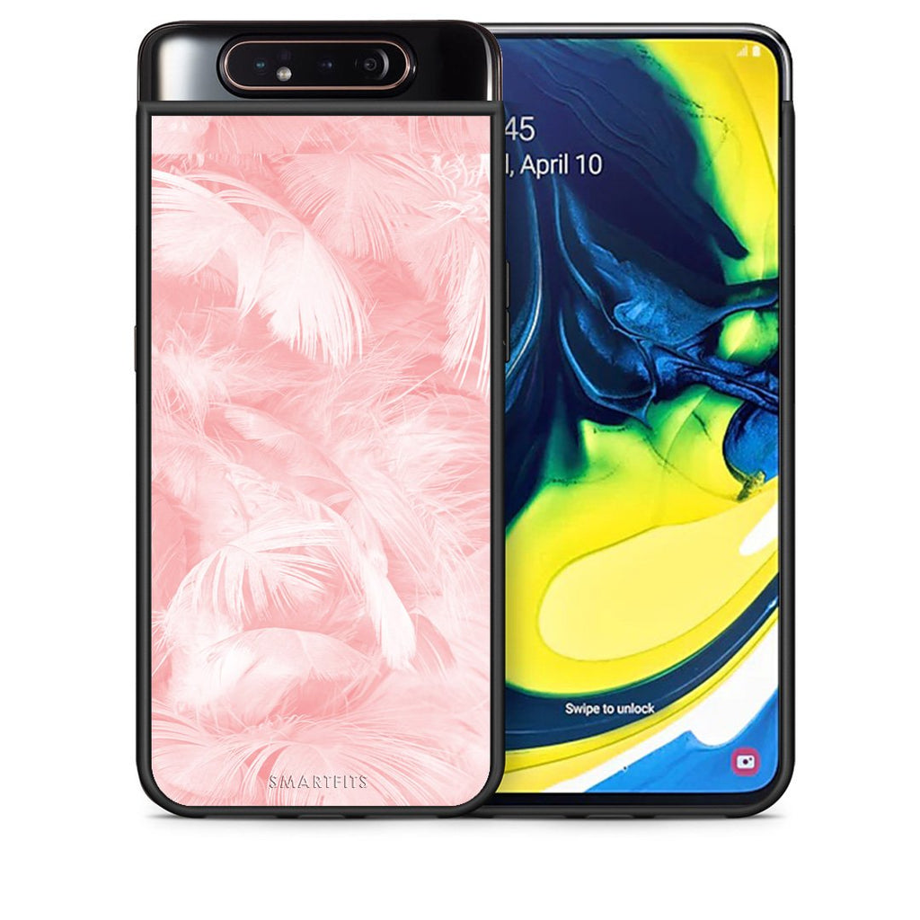 Θήκη Samsung A80 Pink Feather Boho από τη Smartfits με σχέδιο στο πίσω μέρος και μαύρο περίβλημα | Samsung A80 Pink Feather Boho case with colorful back and black bezels