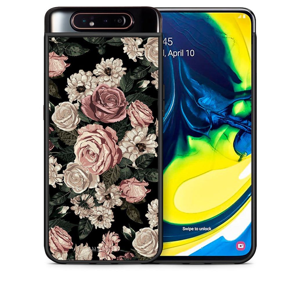 Θήκη Samsung A80 Wild Roses Flower από τη Smartfits με σχέδιο στο πίσω μέρος και μαύρο περίβλημα | Samsung A80 Wild Roses Flower case with colorful back and black bezels