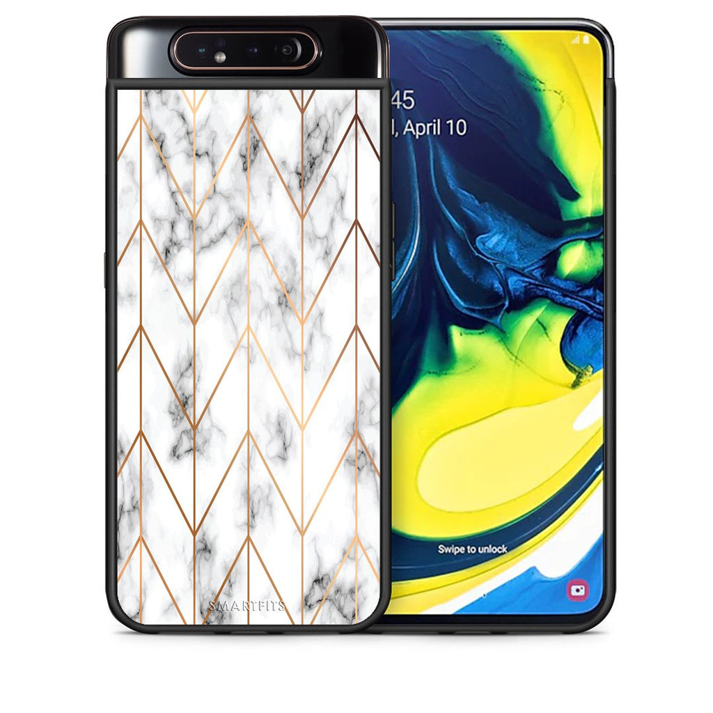 Θήκη Samsung A80 Gold Geometric Marble από τη Smartfits με σχέδιο στο πίσω μέρος και μαύρο περίβλημα | Samsung A80 Gold Geometric Marble case with colorful back and black bezels