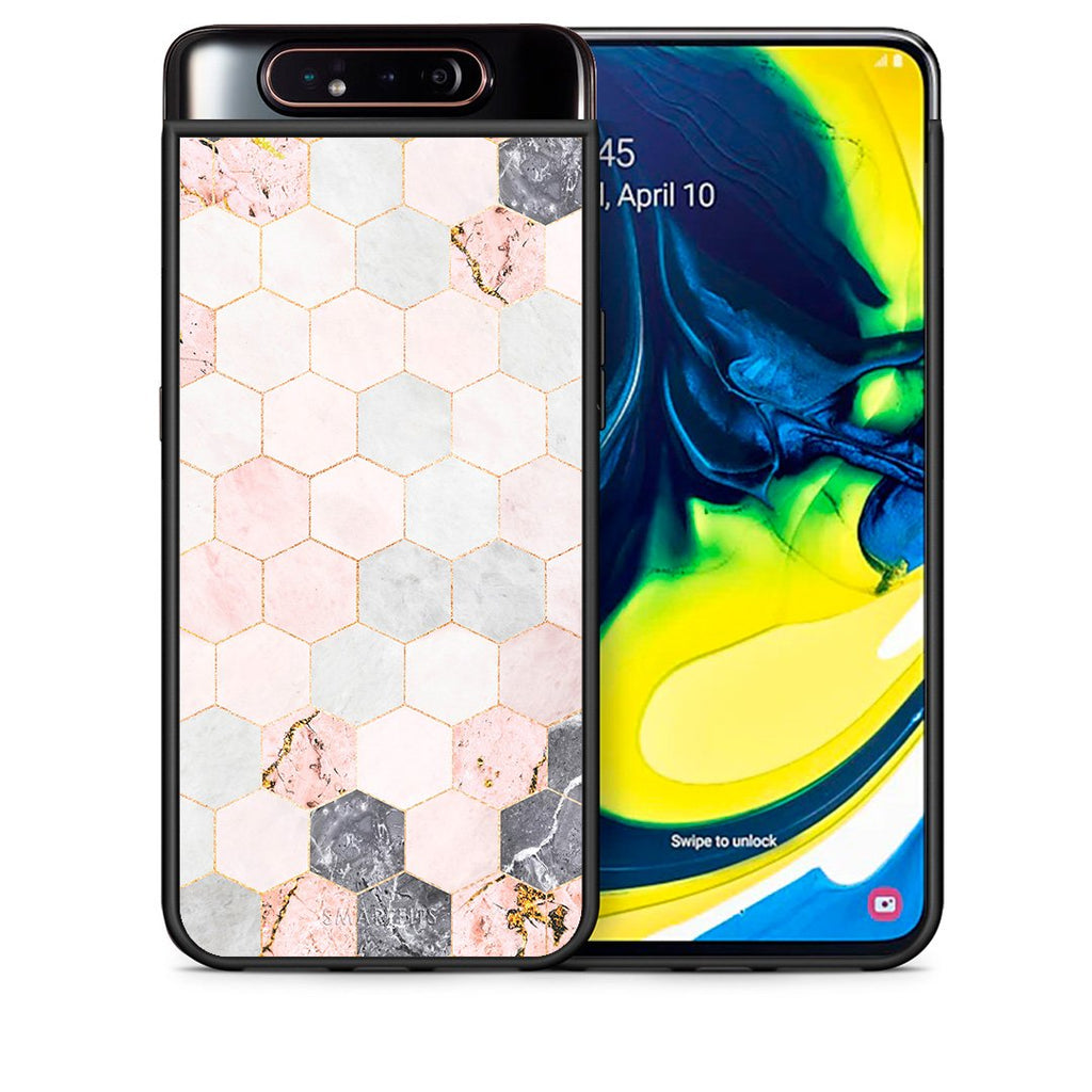 Θήκη Samsung A80 Hexagon Pink Marble από τη Smartfits με σχέδιο στο πίσω μέρος και μαύρο περίβλημα | Samsung A80 Hexagon Pink Marble case with colorful back and black bezels
