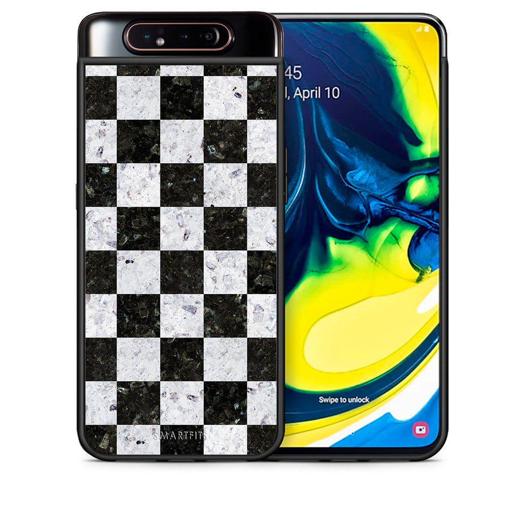 Θήκη Samsung A80 Square Geometric Marble από τη Smartfits με σχέδιο στο πίσω μέρος και μαύρο περίβλημα | Samsung A80 Square Geometric Marble case with colorful back and black bezels