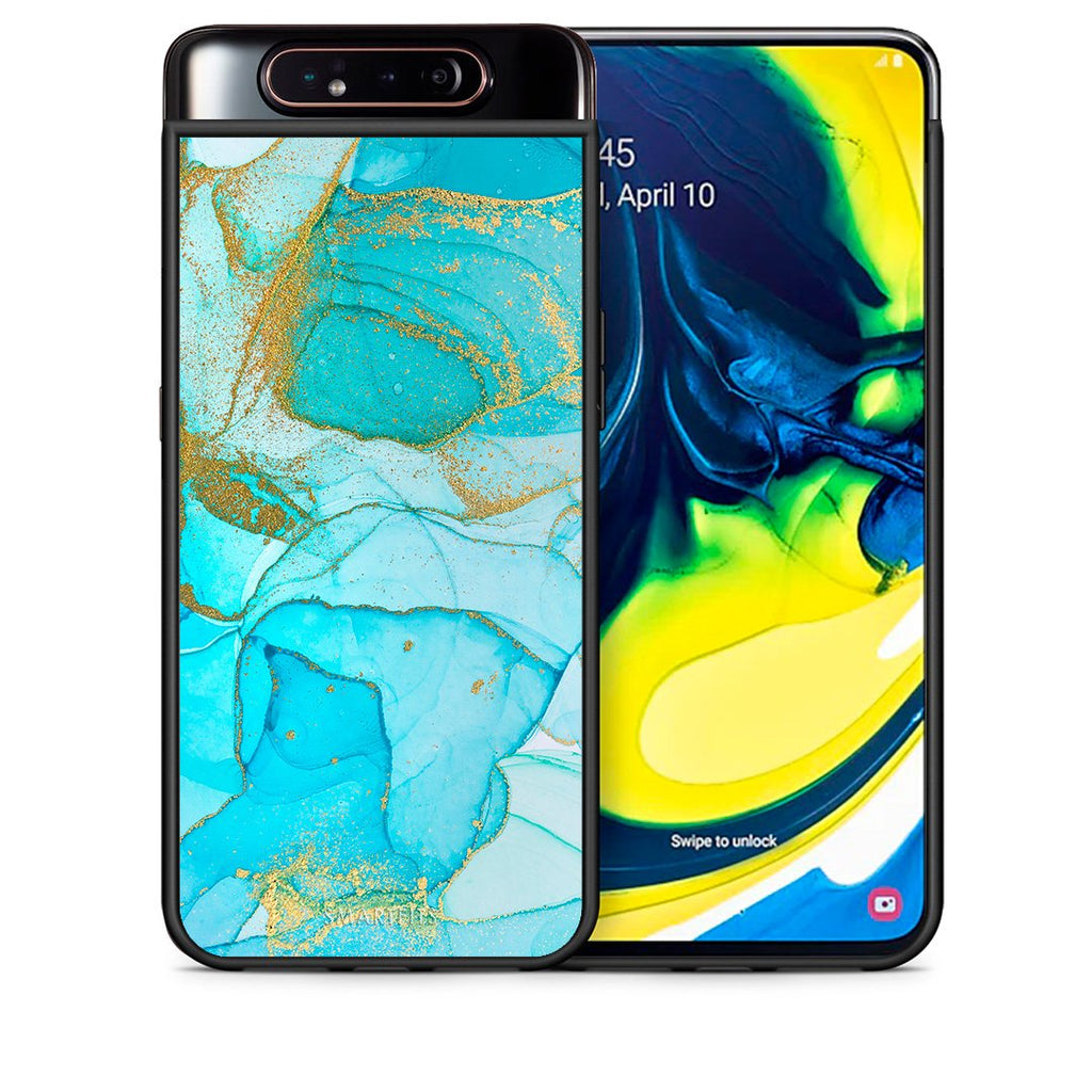 Θήκη Samsung A80 Turquoise Gold Watercolor από τη Smartfits με σχέδιο στο πίσω μέρος και μαύρο περίβλημα | Samsung A80 Turquoise Gold Watercolor case with colorful back and black bezels