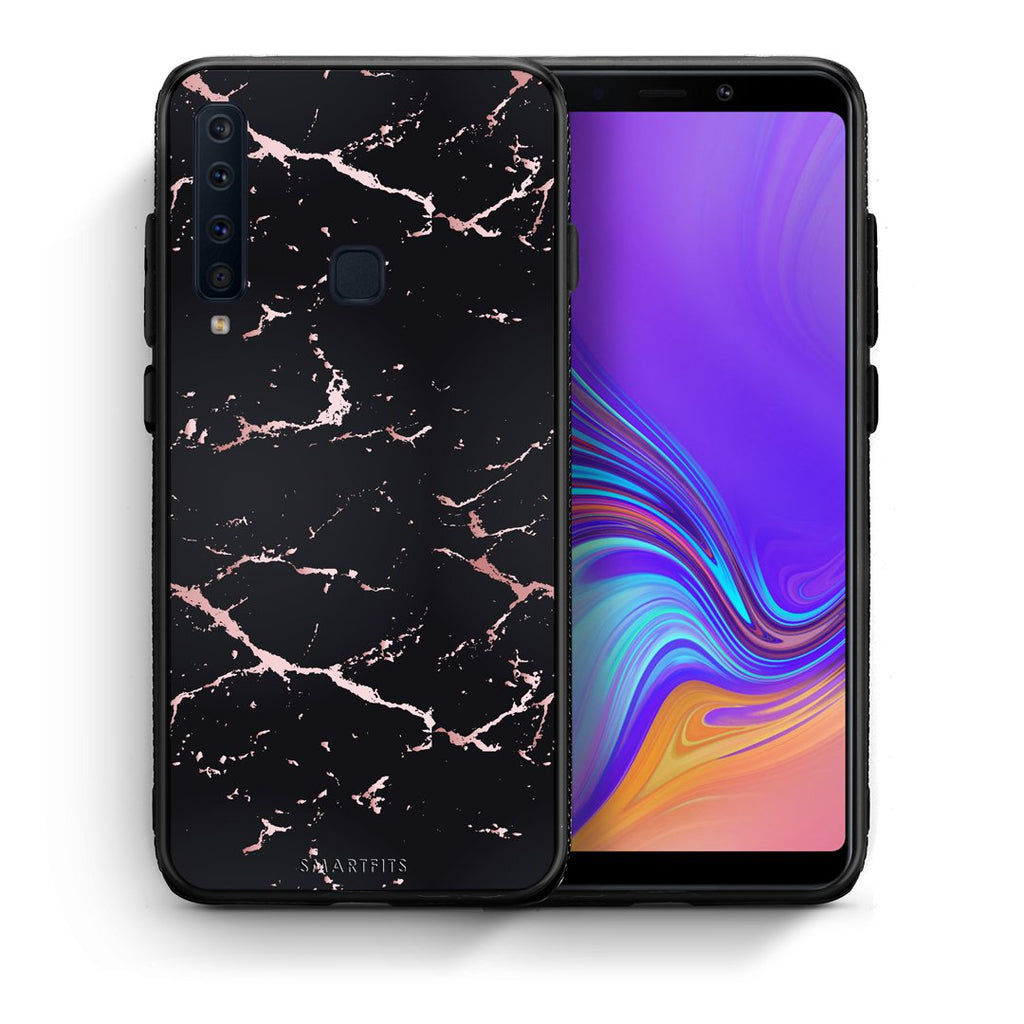 4 - samsung galaxy a9  Black Rosegold Marble case, cover, bumper