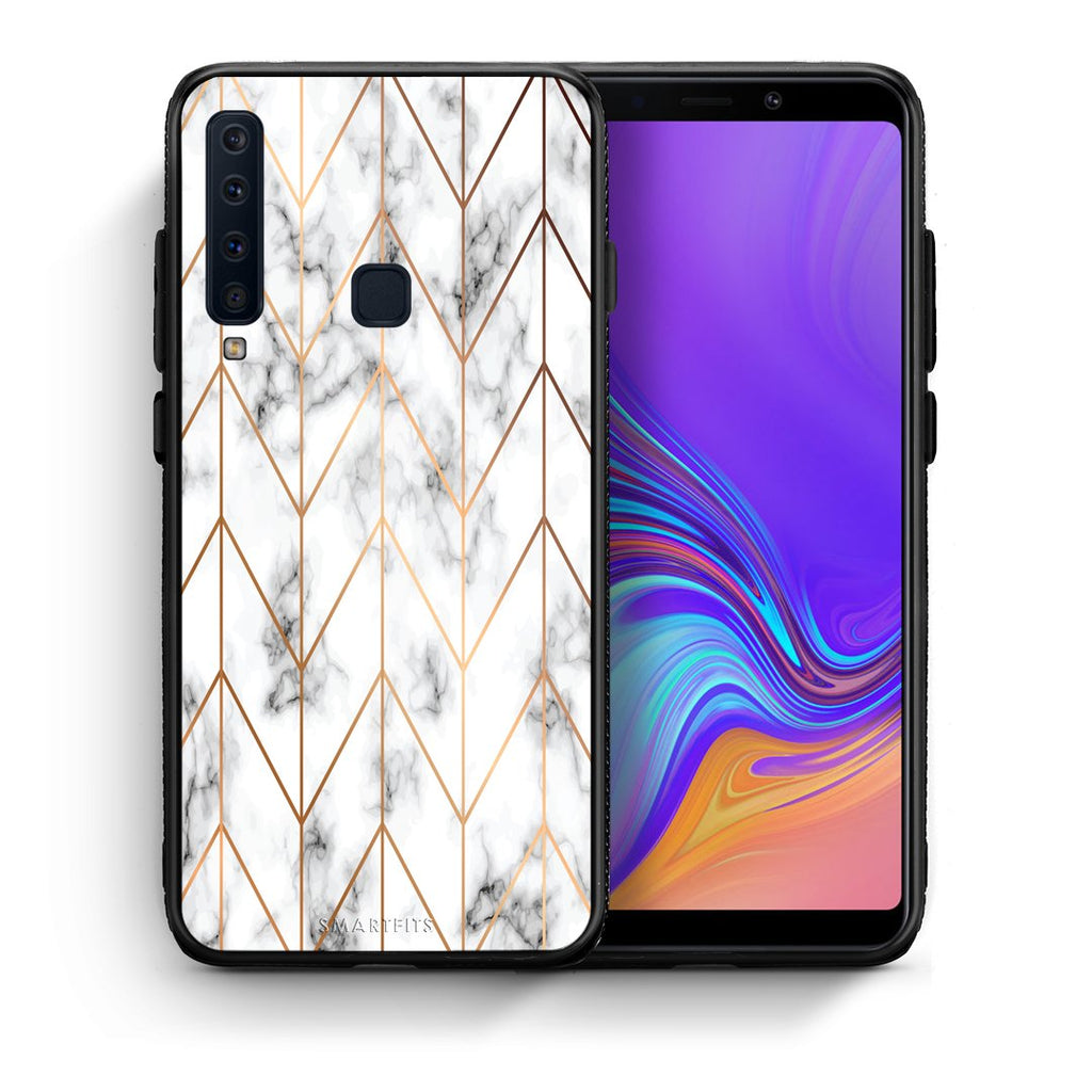 Θήκη Samsung A9 Gold Geometric Marble από τη Smartfits με σχέδιο στο πίσω μέρος και μαύρο περίβλημα | Samsung A9 Gold Geometric Marble case with colorful back and black bezels