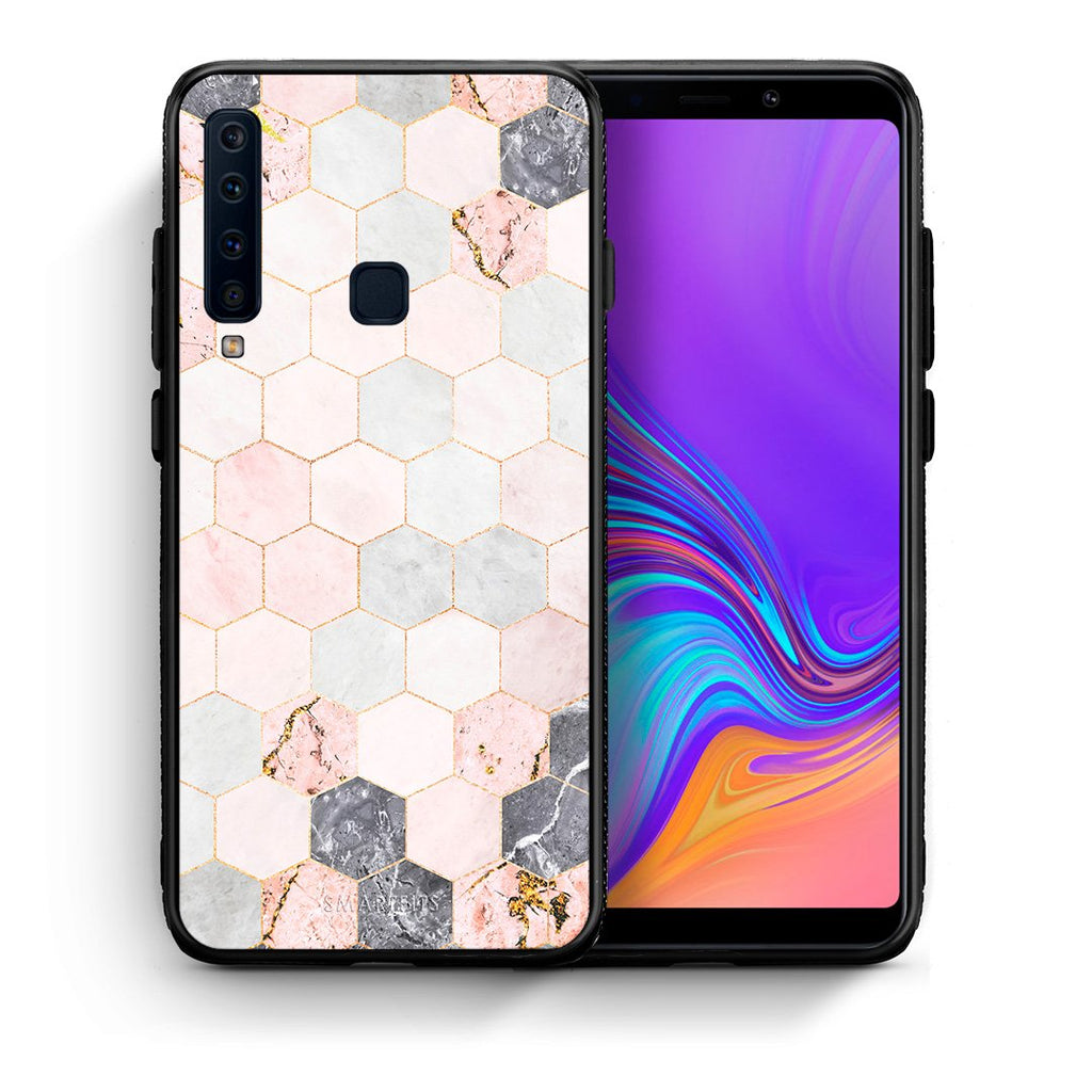 Θήκη Samsung A9 Hexagon Pink Marble από τη Smartfits με σχέδιο στο πίσω μέρος και μαύρο περίβλημα | Samsung A9 Hexagon Pink Marble case with colorful back and black bezels