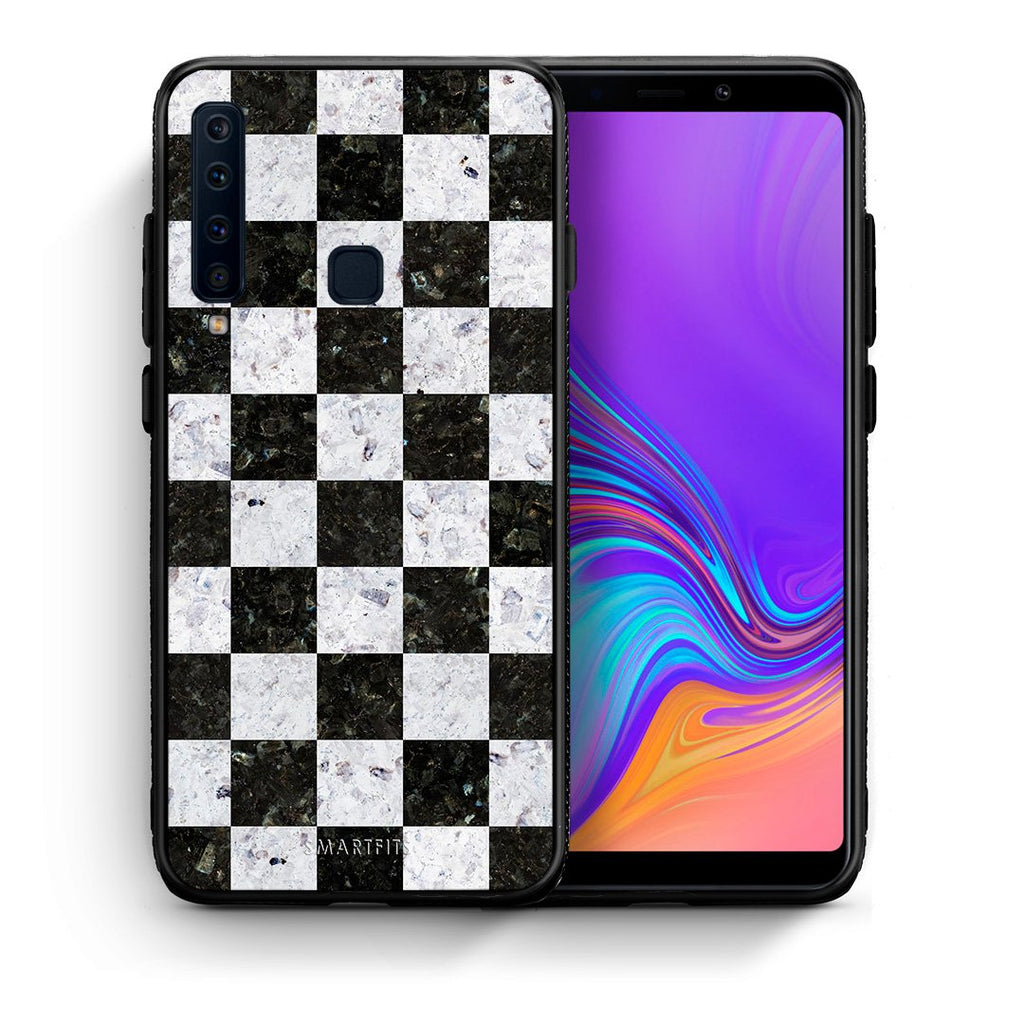Θήκη Samsung A9 Square Geometric Marble από τη Smartfits με σχέδιο στο πίσω μέρος και μαύρο περίβλημα | Samsung A9 Square Geometric Marble case with colorful back and black bezels