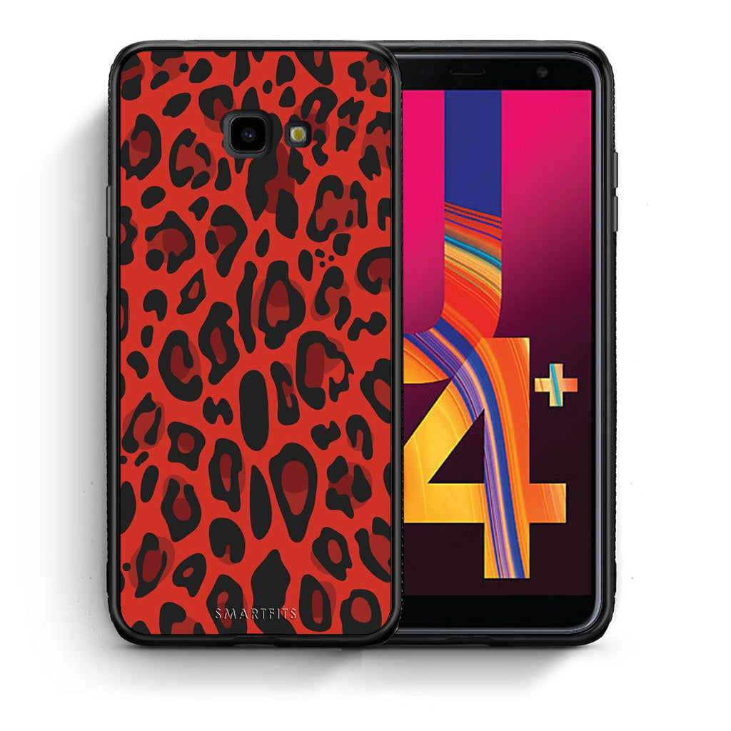 4 - Samsung J4 Plus Red Leopard Animal case, cover, bumper
