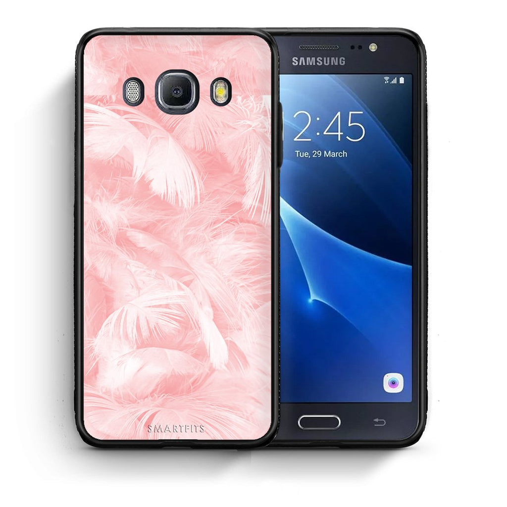 33 - Samsung J7 2016 Pink Feather Boho case, cover, bumper