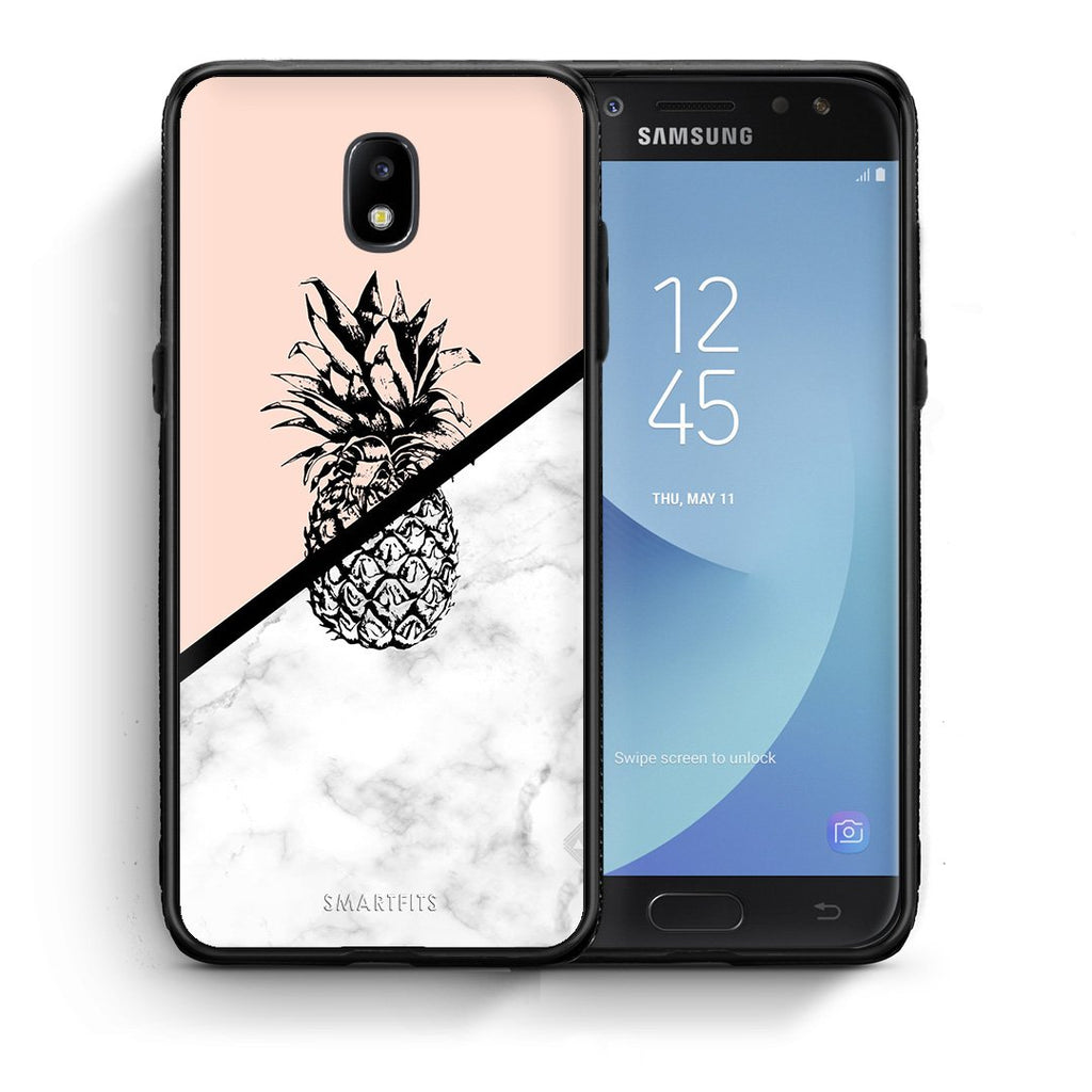 4 - Samsung J7 2017 Pineapple Marble case, cover, bumper
