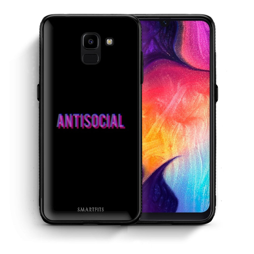 Θήκη Samsung J6 Antisocial Person από τη Smartfits με σχέδιο στο πίσω μέρος και μαύρο περίβλημα | Samsung J6 Antisocial Person case with colorful back and black bezels
