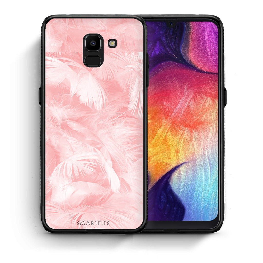 33 - samsung Galaxy J6 Pink Feather Boho case, cover, bumper