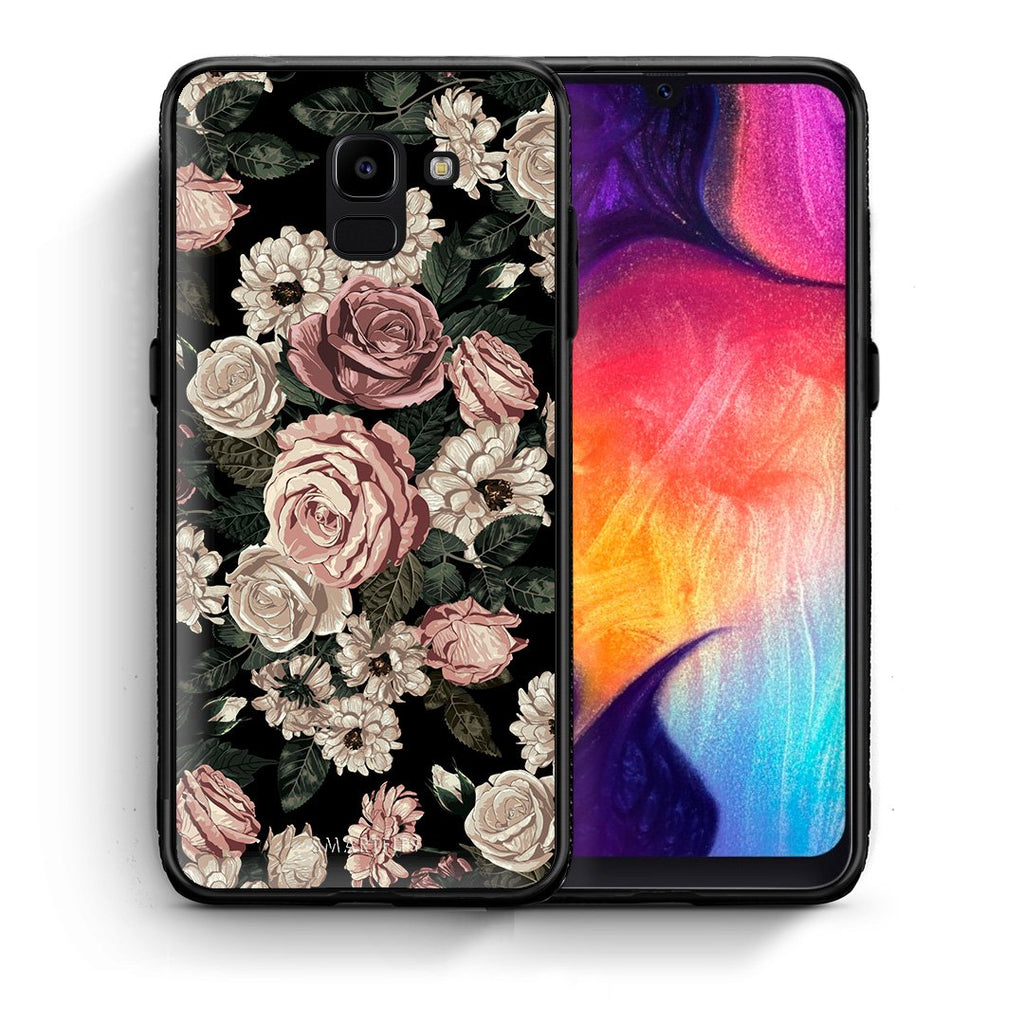 Θήκη Samsung J6 Wild Roses Flower από τη Smartfits με σχέδιο στο πίσω μέρος και μαύρο περίβλημα | Samsung J6 Wild Roses Flower case with colorful back and black bezels
