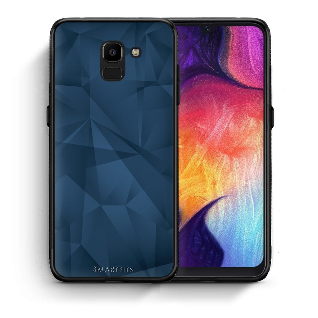 39 - samsung Galaxy J6 Blue Abstract Geometric case, cover, bumper