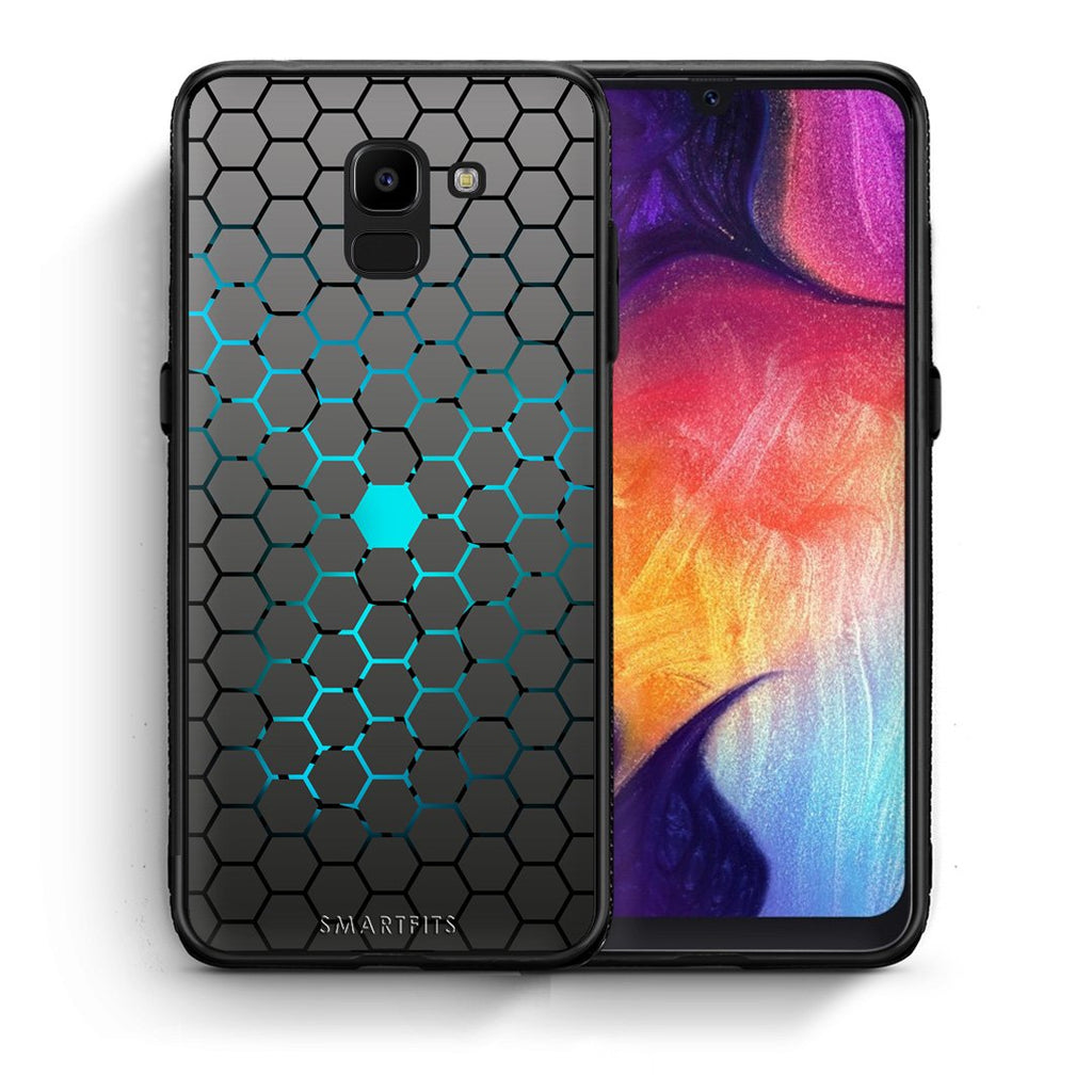 Θήκη Samsung J6 Hexagonal Geometric από τη Smartfits με σχέδιο στο πίσω μέρος και μαύρο περίβλημα | Samsung J6 Hexagonal Geometric case with colorful back and black bezels