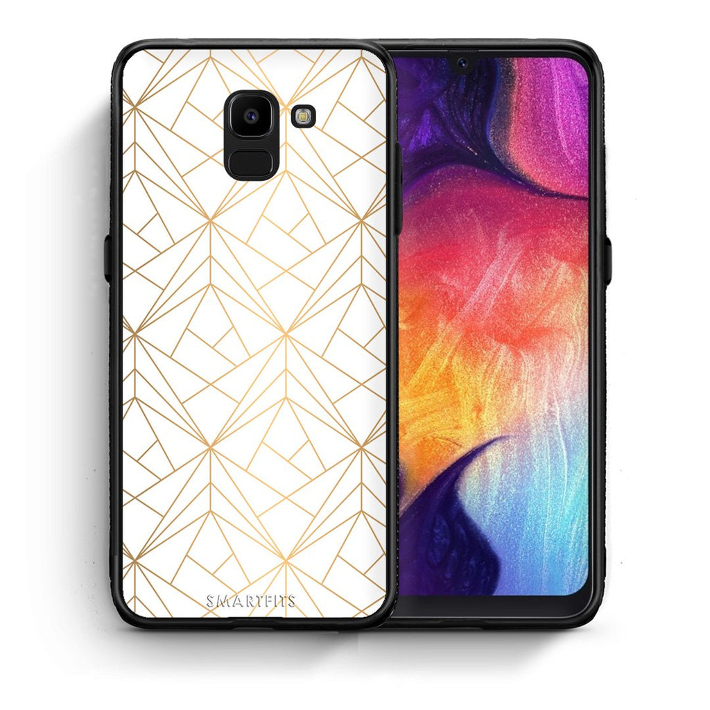 111 - samsung Galaxy J6 Luxury White Geometric case, cover, bumper