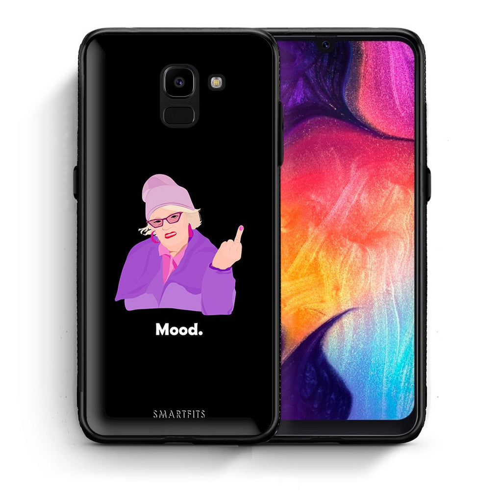 Θήκη Samsung J6 Grandma Mood Black από τη Smartfits με σχέδιο στο πίσω μέρος και μαύρο περίβλημα | Samsung J6 Grandma Mood Black case with colorful back and black bezels