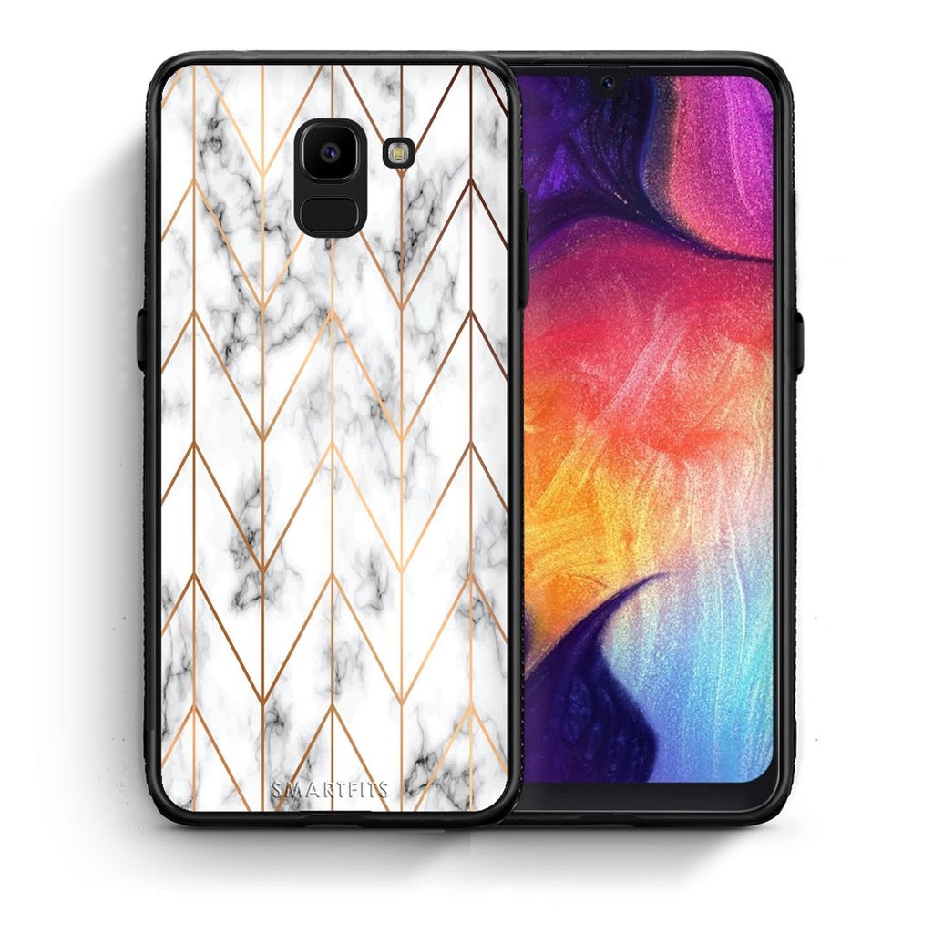 Θήκη Samsung J6 Gold Geometric Marble από τη Smartfits με σχέδιο στο πίσω μέρος και μαύρο περίβλημα | Samsung J6 Gold Geometric Marble case with colorful back and black bezels
