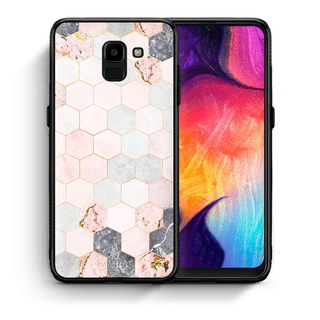 Θήκη Samsung J6 Hexagon Pink Marble από τη Smartfits με σχέδιο στο πίσω μέρος και μαύρο περίβλημα | Samsung J6 Hexagon Pink Marble case with colorful back and black bezels