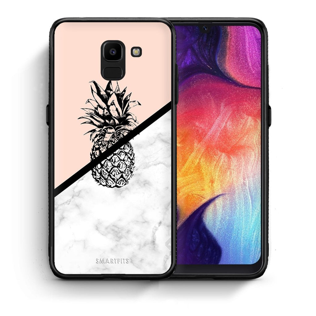 4 - samsung J6 Pineapple Marble case, cover, bumper