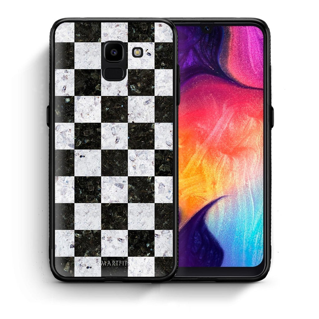 Θήκη Samsung J6 Square Geometric Marble από τη Smartfits με σχέδιο στο πίσω μέρος και μαύρο περίβλημα | Samsung J6 Square Geometric Marble case with colorful back and black bezels