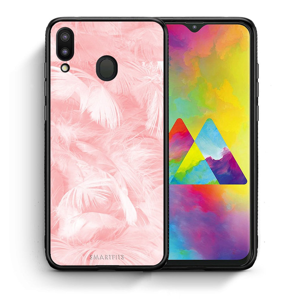 33 - Samsung M20 Pink Feather Boho case, cover, bumper