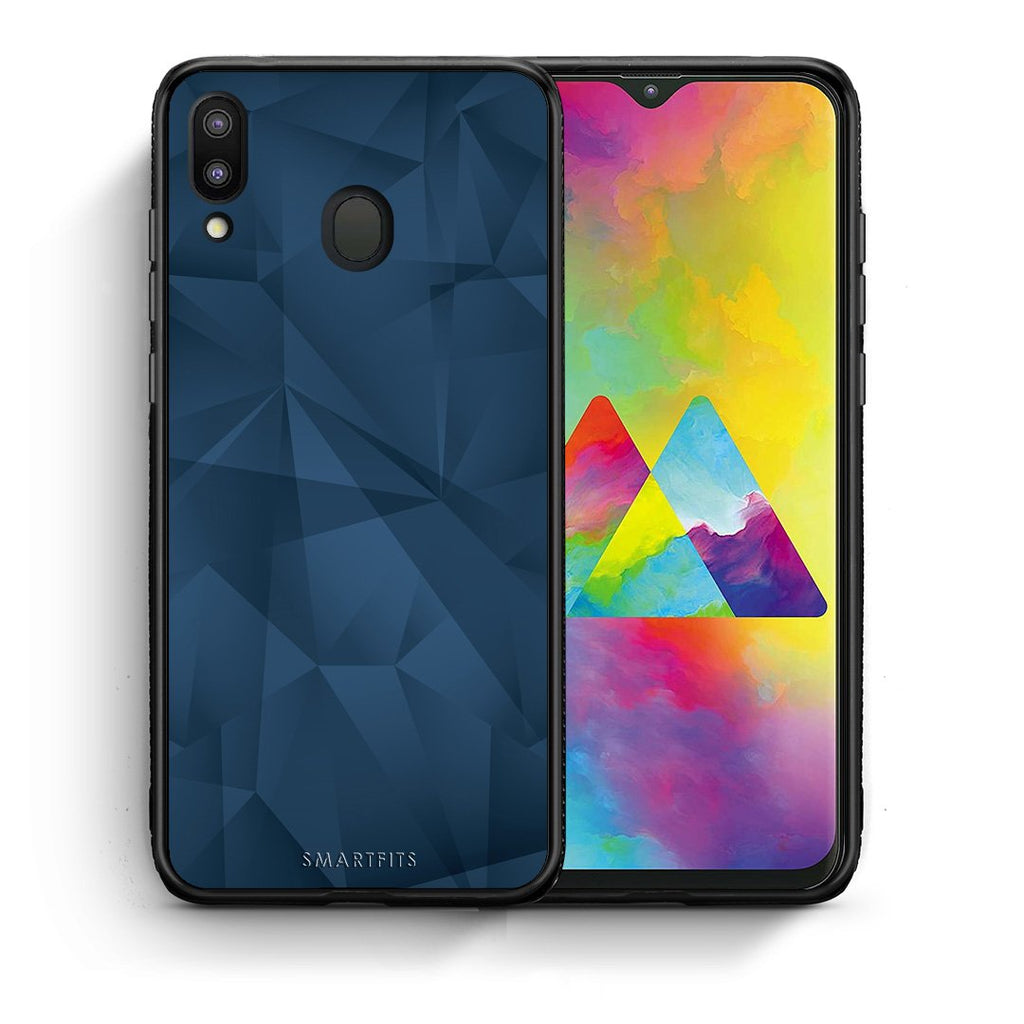 39 - Samsung M20 Blue Abstract Geometric case, cover, bumper