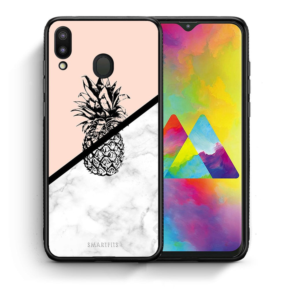 4 - Samsung M20 Pineapple Marble case, cover, bumper