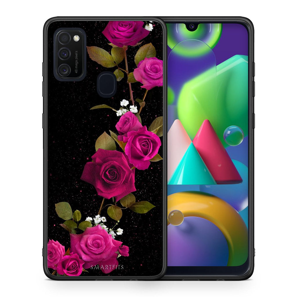 4 - Samsung M21/M31 Red Roses Flower case, cover, bumper