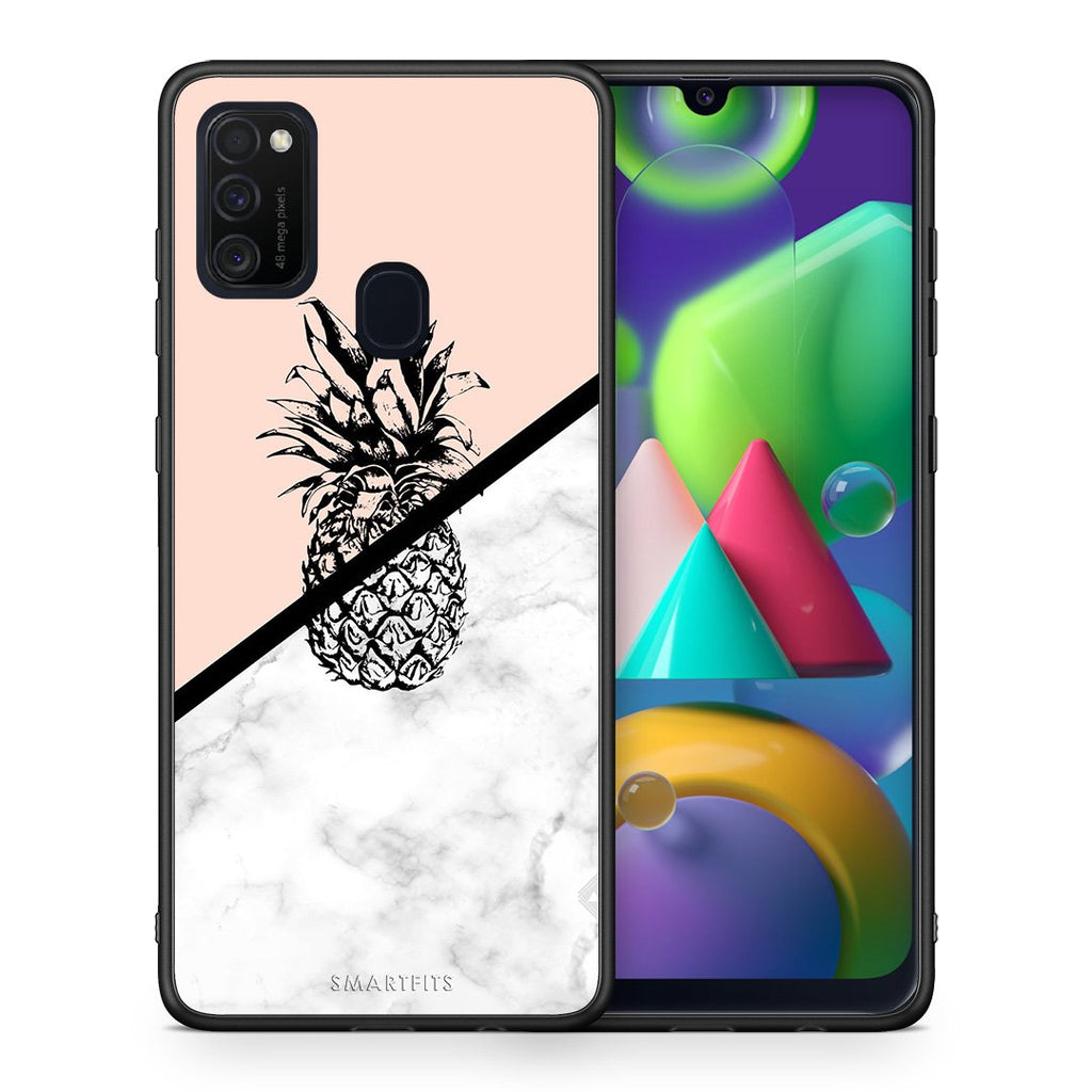 4 - Samsung M21/M31 Pineapple Marble case, cover, bumper
