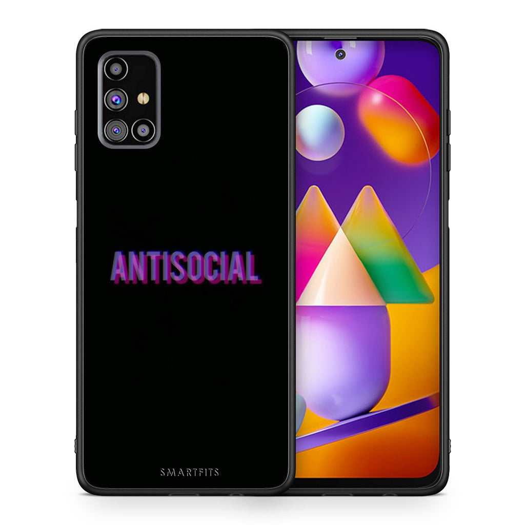 Θήκη Samsung M31s Antisocial Person από τη Smartfits με σχέδιο στο πίσω μέρος και μαύρο περίβλημα | Samsung M31s Antisocial Person case with colorful back and black bezels