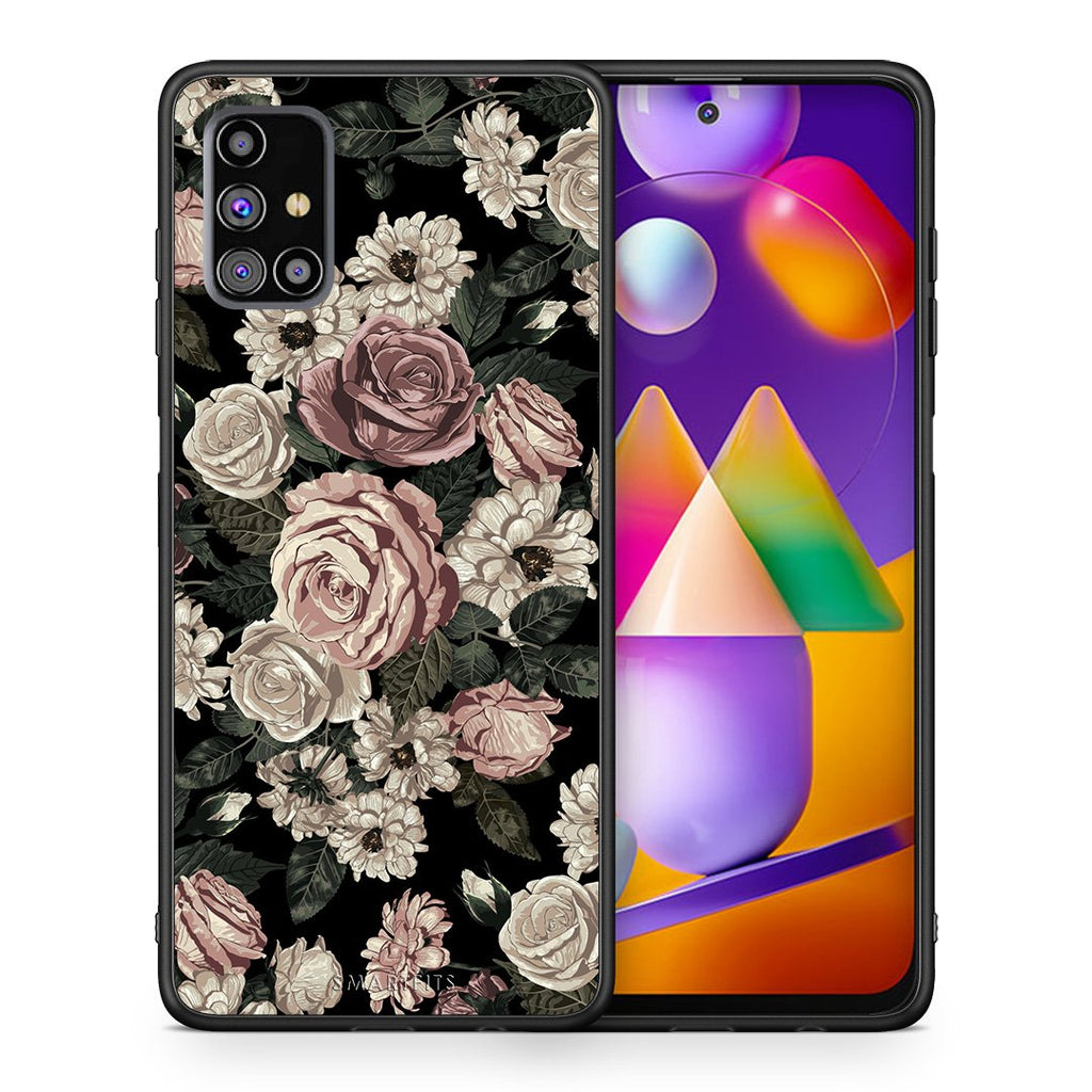 Θήκη Samsung M31s Wild Roses Flower από τη Smartfits με σχέδιο στο πίσω μέρος και μαύρο περίβλημα | Samsung M31s Wild Roses Flower case with colorful back and black bezels