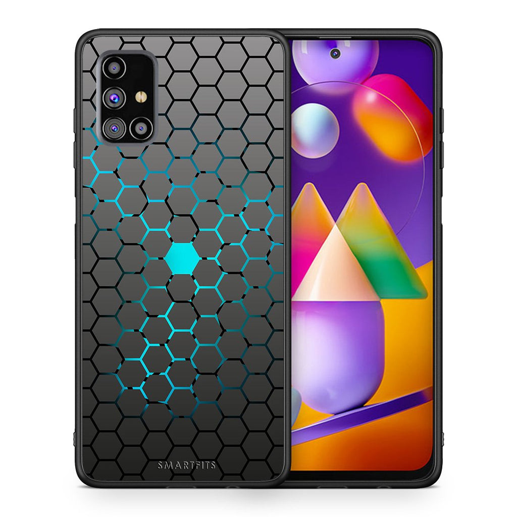 Θήκη Samsung M31s Hexagonal Geometric από τη Smartfits με σχέδιο στο πίσω μέρος και μαύρο περίβλημα | Samsung M31s Hexagonal Geometric case with colorful back and black bezels