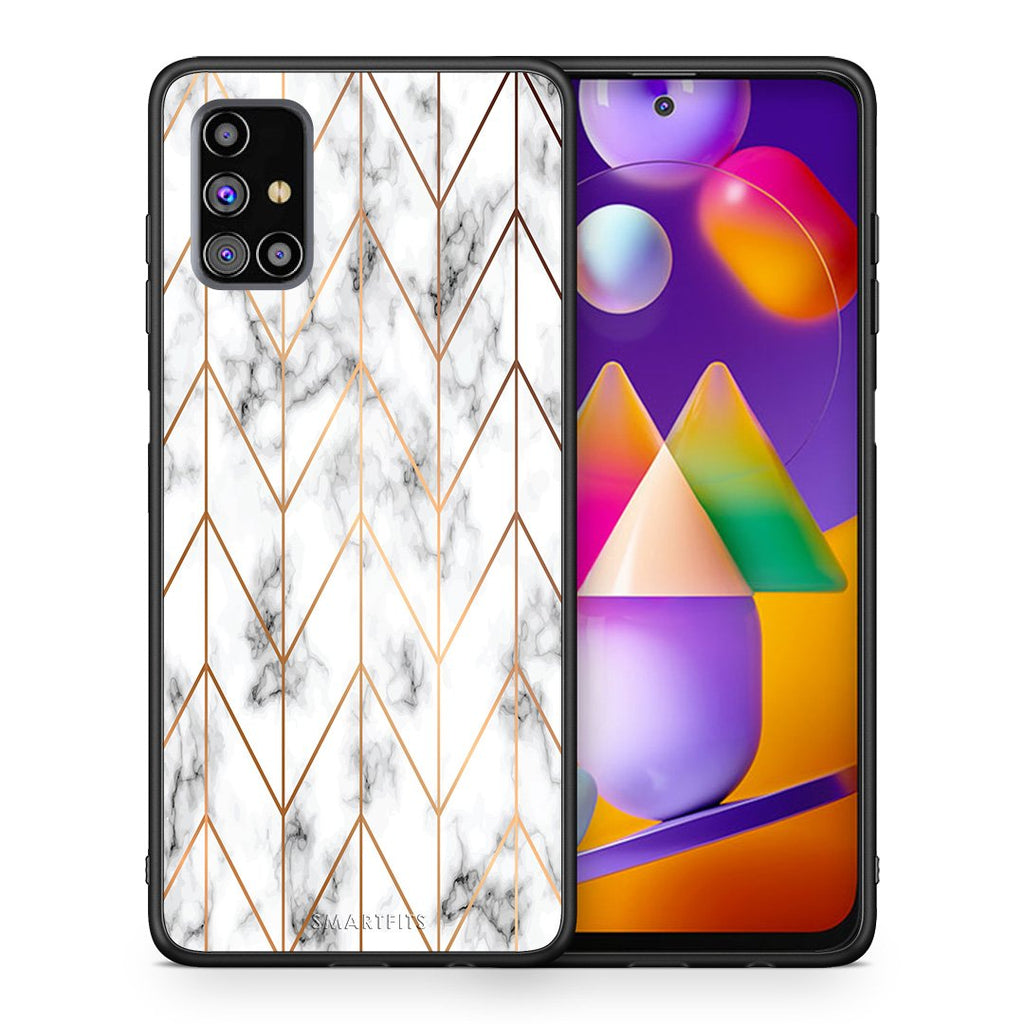 Θήκη Samsung M31s Gold Geometric Marble από τη Smartfits με σχέδιο στο πίσω μέρος και μαύρο περίβλημα | Samsung M31s Gold Geometric Marble case with colorful back and black bezels
