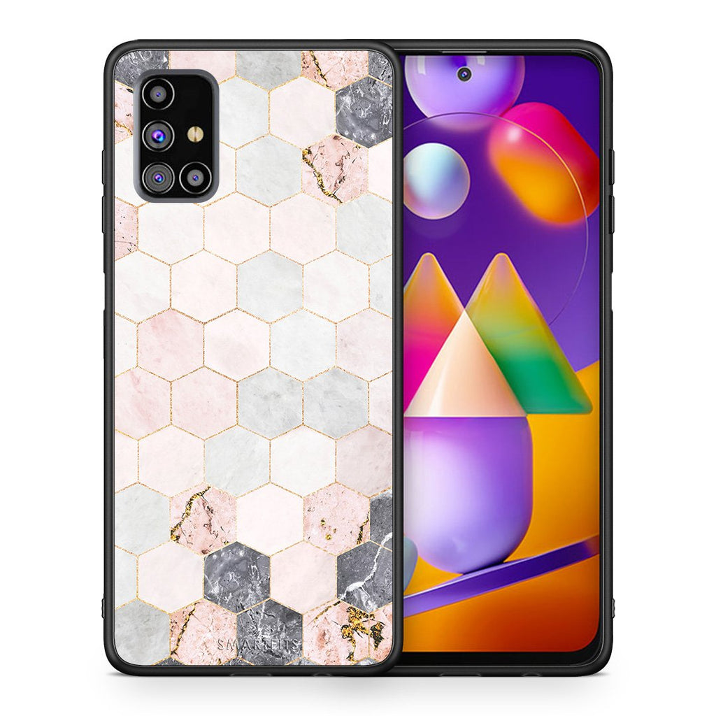 Θήκη Samsung M31s Hexagon Pink Marble από τη Smartfits με σχέδιο στο πίσω μέρος και μαύρο περίβλημα | Samsung M31s Hexagon Pink Marble case with colorful back and black bezels