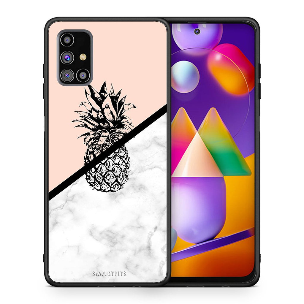 Θήκη Samsung M31s Pineapple Marble από τη Smartfits με σχέδιο στο πίσω μέρος και μαύρο περίβλημα | Samsung M31s Pineapple Marble case with colorful back and black bezels