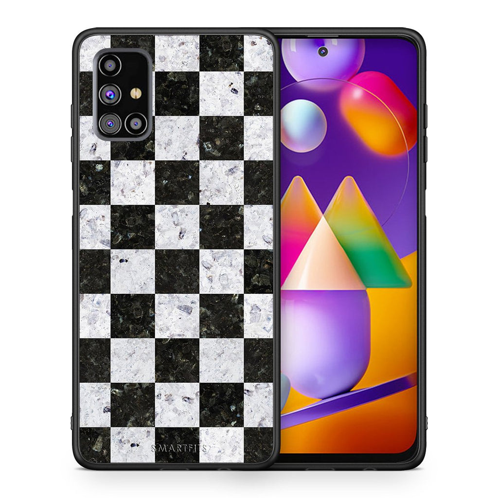 Θήκη Samsung M31s Square Geometric Marble από τη Smartfits με σχέδιο στο πίσω μέρος και μαύρο περίβλημα | Samsung M31s Square Geometric Marble case with colorful back and black bezels