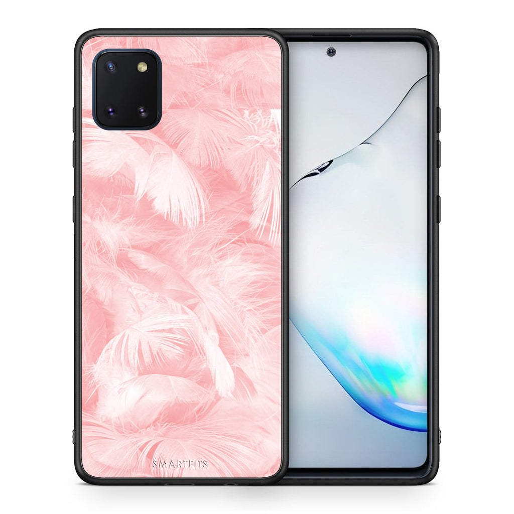 33 - Samsung Note 10 Lite Pink Feather Boho case, cover, bumper