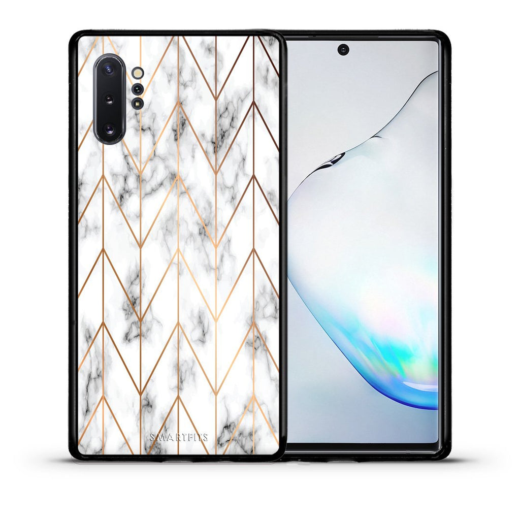 44 - Samsung Note 10+ Gold Geometric Marble case, cover, bumper