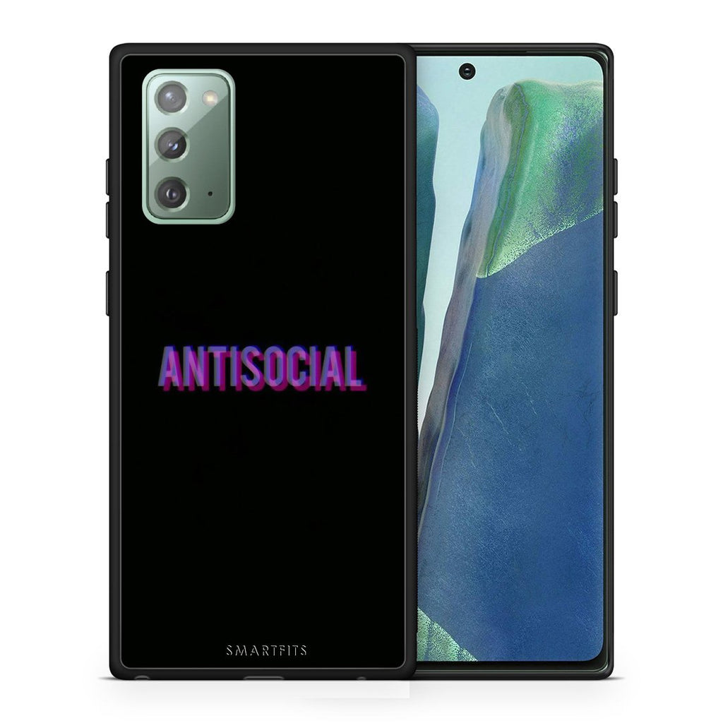 Θήκη Samsung Note 20 Antisocial Person από τη Smartfits με σχέδιο στο πίσω μέρος και μαύρο περίβλημα | Samsung Note 20 Antisocial Person case with colorful back and black bezels