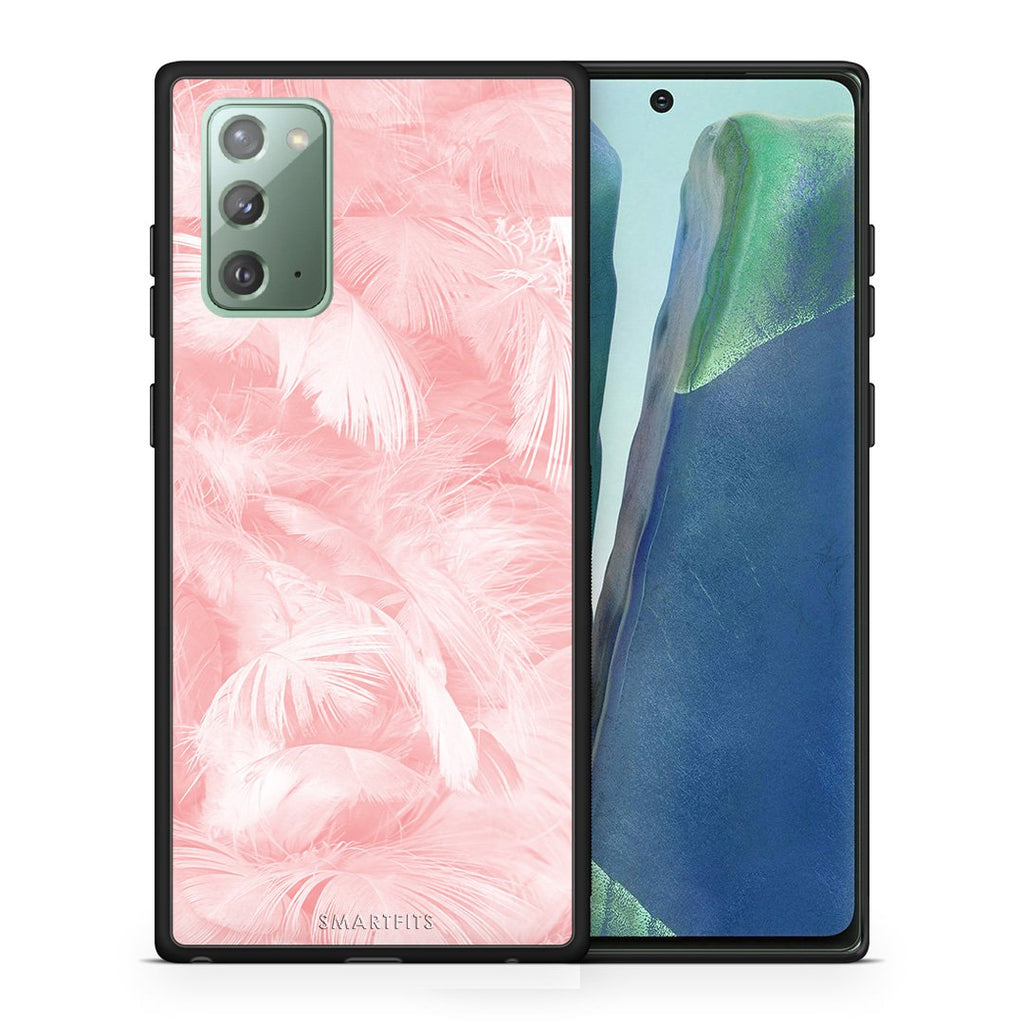 33 - Samsung Note 20  Pink Feather Boho case, cover, bumper