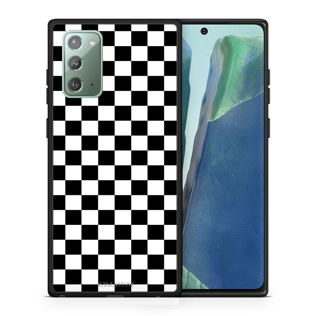 Θήκη Samsung Note 20 Squares Geometric από τη Smartfits με σχέδιο στο πίσω μέρος και μαύρο περίβλημα | Samsung Note 20 Squares Geometric case with colorful back and black bezels