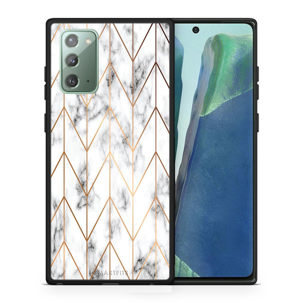 Θήκη Samsung Note 20 Gold Geometric Marble από τη Smartfits με σχέδιο στο πίσω μέρος και μαύρο περίβλημα | Samsung Note 20 Gold Geometric Marble case with colorful back and black bezels