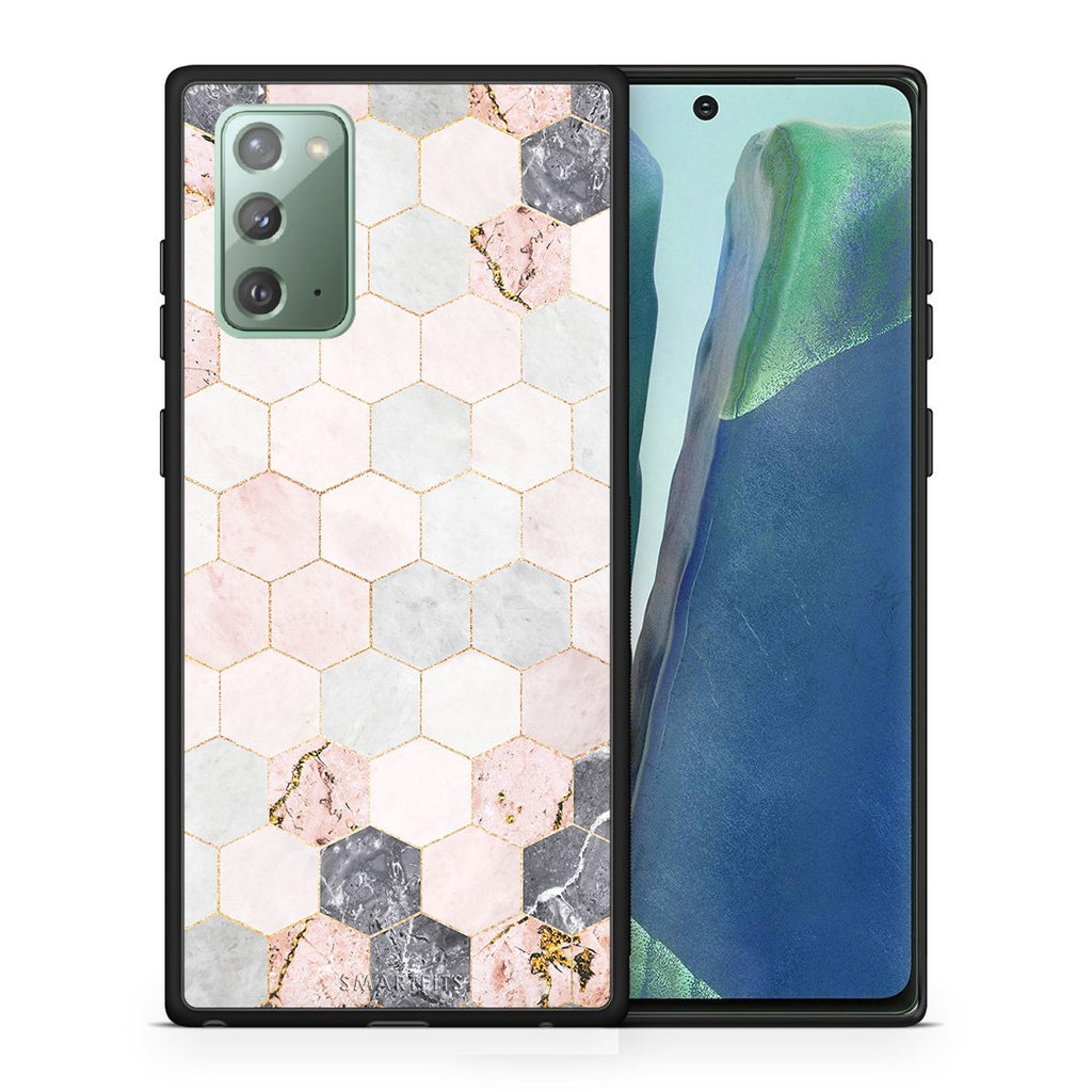 Θήκη Samsung Note 20 Hexagon Pink Marble από τη Smartfits με σχέδιο στο πίσω μέρος και μαύρο περίβλημα | Samsung Note 20 Hexagon Pink Marble case with colorful back and black bezels
