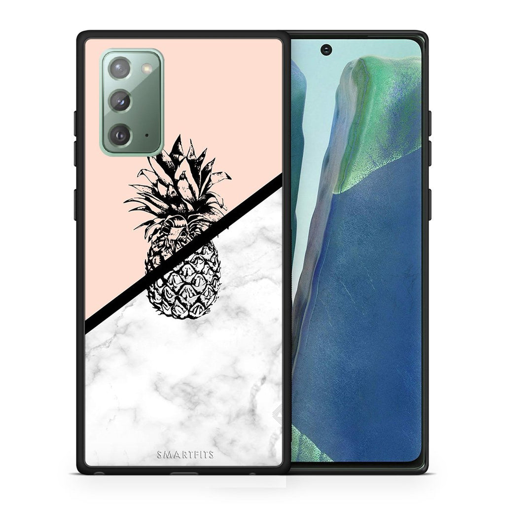 Θήκη Samsung Note 20 Pineapple Marble από τη Smartfits με σχέδιο στο πίσω μέρος και μαύρο περίβλημα | Samsung Note 20 Pineapple Marble case with colorful back and black bezels