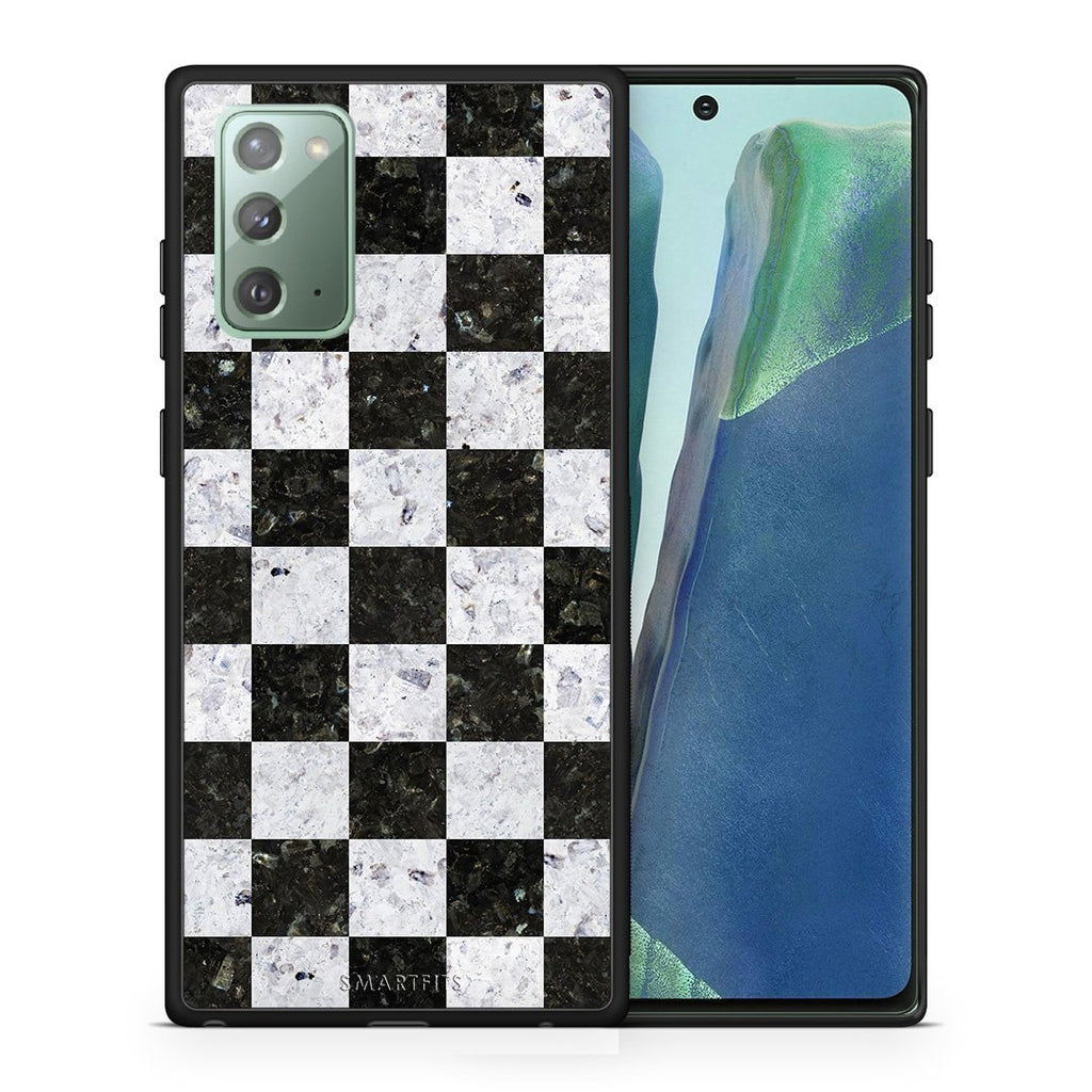 Θήκη Samsung Note 20 Square Geometric Marble από τη Smartfits με σχέδιο στο πίσω μέρος και μαύρο περίβλημα | Samsung Note 20 Square Geometric Marble case with colorful back and black bezels